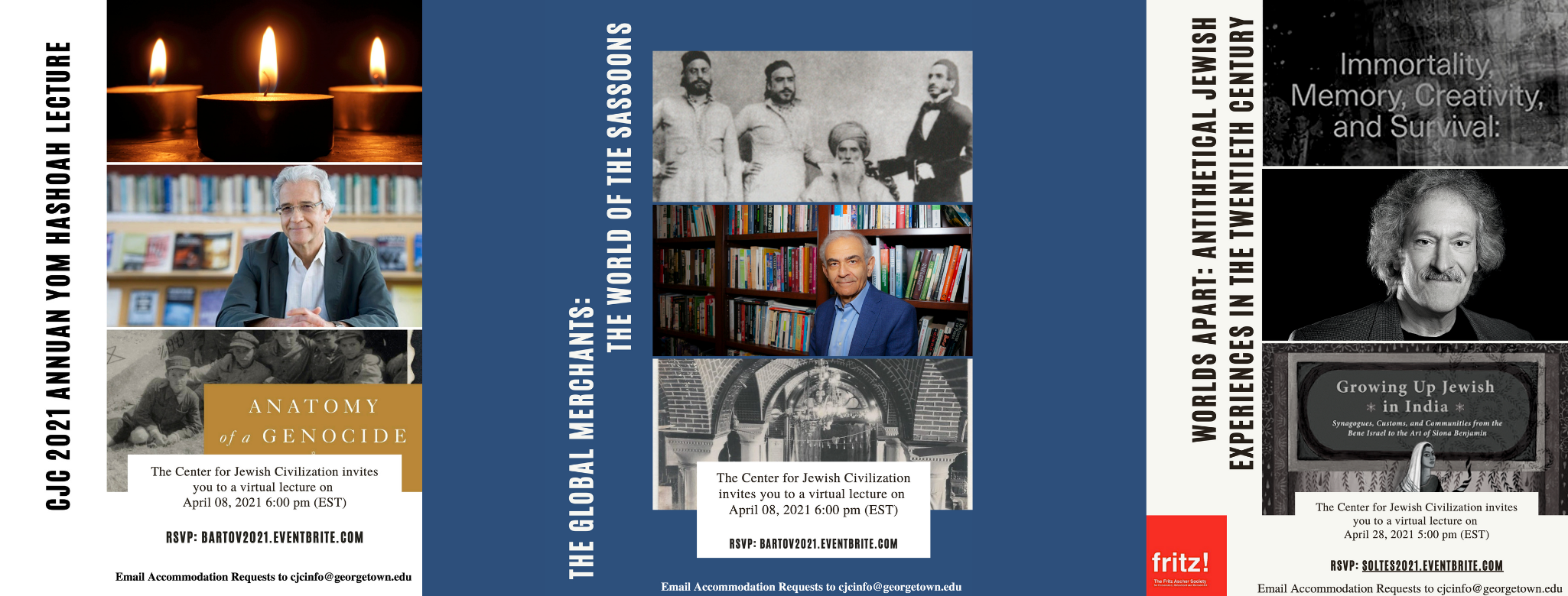 List of Spring 2021 Events - Three Images of lectures by Dr. Omer Bartov, Dr. Joseph Sassoon, and Dr. Ori Soltes.