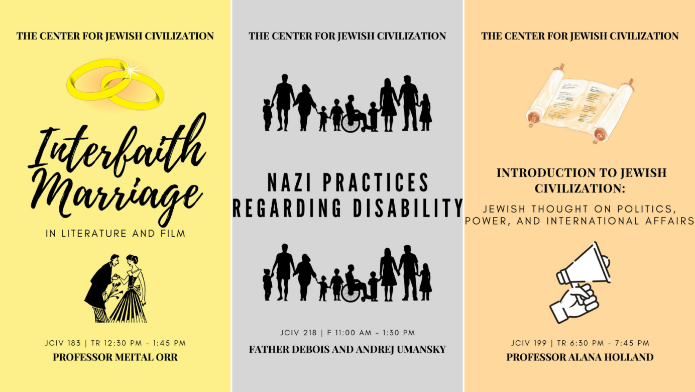 Website banner with a few of the CJC's Fall 2021 courses for the upcoming semester