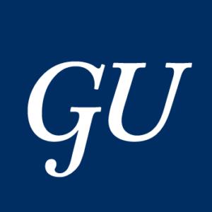 Georgetown's GU initials in white on a blue blackground